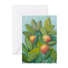 Backyard Florida Oranges Greeting Cards