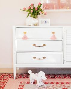 CEH Vintage Dresser with Blush Tassels and White Paint https://www.instagram.com/theceh/