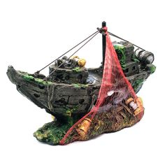 1pcs High Simulation Resin Sea Shipwrecks Waterscape Decoration for Aquarium Fish Tank Grey