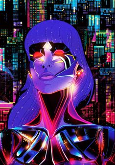 "This vintage, glowing girl is nicely done. Lots of great detail, and a strong ""Tron"" influence makes this an eye-catcher."