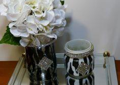 Zebra Print Executive Desk Set Home Decor Black Glass Set   eBay