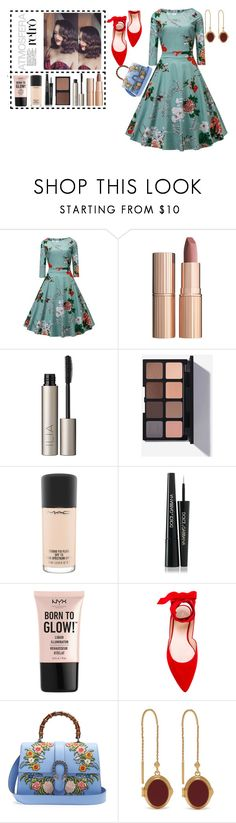 """retro"" by alexandrabianca-1 on Polyvore featuring Charlotte Tilbury, Ilia, MAC Cosmetics, Dolce&Gabbana, NYX, Stuart Weitzman, Gucci and Mulberry"