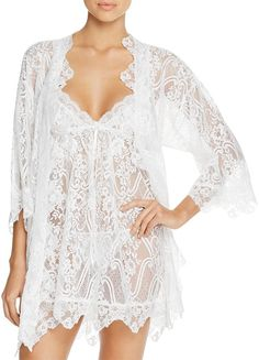 1d035ad80 Eva -Long lace robe - Chantilly lace robe - bridal lace robe - lace kimono  - ivory - STYLE 415