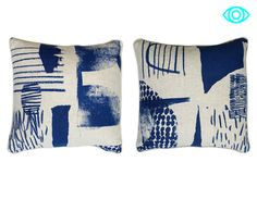 """Laura Slater cuts, pastes, paints and layers carefree shapes and patterns to create artful textiles. Slater's surface designs are lively with dynamic brushstrokes and sharp shapes. Modern paintings and housewares all in one. """"Informed by the interaction of colour and shape, my design focuses on the translation of drawing and surface through hand printed processes."""" Slater runs her busy studio and print workshop in West Yorkshire, England."""