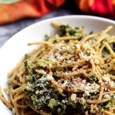 Spaghetti with Cauliflower and Garlicky Swiss Chard Gremolata Recipe Main Dishes with whole wheat spaghetti, cauliflower, swiss chard, olive oil, garlic cloves, lemon, red pepper flakes, salt, black pepper, parmigiano reggiano cheese