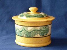 Antique Yellow Ware Crock Green Seaweed Mocha Slip Bands Circa 1850 Original