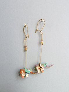 Boucles d'oreilles origami Elephant multicolore