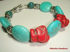 Turquoise and red bracelet chunky bracelet by MahelieCreations, $15.00