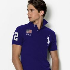 Ralph Lauren Slim-Custom Fit USA Flag Polo Blau White
