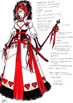 It's my own version of queen of hearts costume (VERSION .The texts might be confusing (if you don't know finnish) but there's a some details from t. Queen of Hearts costume design Queen Of Hearts Tattoo, Queen Of Hearts Alice, Queen Of Hearts Costume, Ace Of Hearts, Queen Costume, Alice In Wonderland Steampunk, Alice In Wonderland Outfit, Alice In Wonderland Tea Party Birthday, Wonderland Costumes