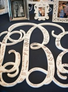 Unique Wedding Ideas on a Budget...Perfect for your guests to sign. This could be done on any style lettering. Hobby lobby has lots of options.