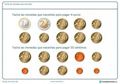 Ficha de cuánto dinero necesito para Primaria Learning Spanish, Math Activities, Euro, Coins, Ideas Para, Montessori, To Tell, Paper, Shopping