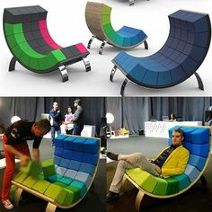 """... The #Rubik's Cube of #furniture The Ego """"smart"""" #chair lets you put your own twist on the design in a simple and fun way! Mix up the color scheme or create a different #pattern simply by rearranging the position of the #cushion elements to give it an entirely new look! The design is made possible thanks to its #unique curved form which is perfectly balance to hold the cushion pieces in place . contrasted with a classic #wood backit's stylishfunctional and fun! Design by Vasil  Velchev…"""