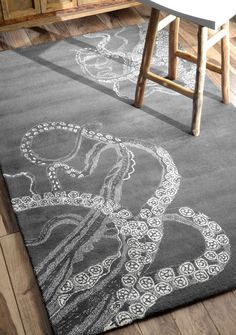 nuLOOM Handmade Octopus Tail Faux Silk / Wool Rug - Overstock™ Shopping - Great Deals on Nuloom - Rugs Octopus Rug, Octopus Decor, Coastal Bedrooms, Coastal Living Rooms, Living Spaces, Condo Living, Rugs Usa, Contemporary Rugs, Handmade Home Decor