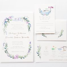 When a sister of one of our favorite brides gets married, we know it's going to be a fun design. Loved creating this custom watercolor + gold foil suite. All things floral and beachy for her wedding festivities on Daufuskie Island #macandmurphycustom