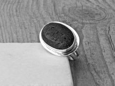 Black Lava Rock Ring Sterling Silver Statement by SunSanJewelry