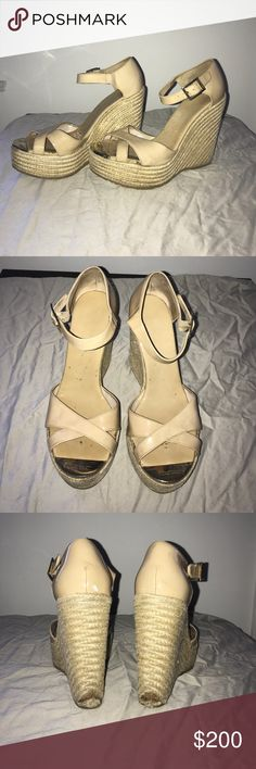 Size 38 nude Jimmy Choo wedge These nude wedges are the most comfortable shoes I own. They are worn and have some discoloring on the toe, and some minor damage on the heel. Jimmy Choo Shoes Wedges