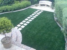 Something along these lines - general shape and the idea of pavers leading to a seating area - could work well in my garden. Residential Landscaping, Garden Inspiration, Garden Ideas, Garden Photos, Front Yard Landscaping, Beautiful Gardens, Garden Design, Home And Garden, Backyard