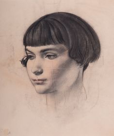 #Alfred #Kingsley #Lawrence Three quarter profile #portrait of a young #girl with a bob looking to her right  #Charcoal white and pink highlights #LLFA #modern #British #art Pink Highlights, The Twenties, Bob, British, Profile, Charcoal, Portraits, Paintings, Female