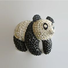 Panda Brooch, Vintage Napier, Black White Rhinestone Figural Pin,... (€34) ❤ liked on Polyvore featuring jewelry and brooches