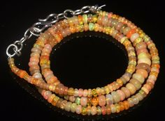 44 CTW 2-6 MM 16 NATURAL GENUINE ETHIOPIAN WELO FIRE OPAL BEADS NECKLACE-R5969
