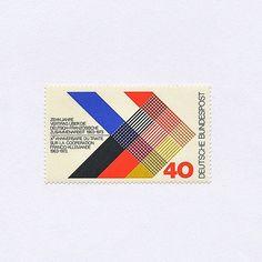 10 Jahre Vertrag über die deutsch-französische Zusammenarbeit (40 Pf). Germany, 1973. Design: Heinz Schillinger. #mnh #graphilately | by BlairThomson