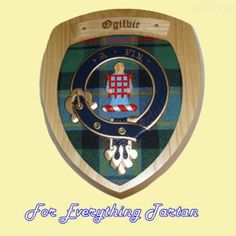 Clan Ogilvie Tartan Woodcarver Wooden Wall Plaque Ogilvie Crest 7 x 8