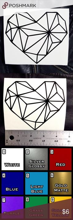"""Geometric Heart Vinyl Decal Sticker •2 FREE Mini Decals w/ EVERY PURCHASE🌹