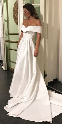 Romantic Off The Shoulder Wedding Dresses, Satin Wedding Dress, Court Train Bridal Wedding Dress, Simple Wedding Gown, Wedding Dress 2017 #satinweddingdresses