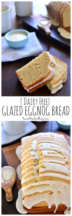 This Glazed Eggnog Bread is packed with the sweet eggnog flavors you love.in a delicious bread that's perfect for the holidays! Best of all, it's made with Silk Soy Nog for a dairy-free breakfast treat that everyone can enjoy! Eggnog Bread Recipe, Best Homemade Bread Recipe, Eggnog Cake, Dairy Free Bread, Dairy Free Recipes, Bread Recipes, Easy Recipes, Christmas Desserts, Christmas Baking