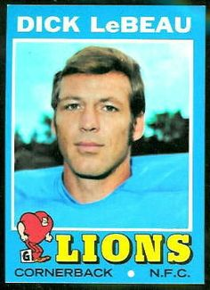 For sale 1971 topps football card 154 dick lebeau detroit lions nfl hall of fame emorys memories. Detroit Lions Football, Detroit Sports, Pittsburgh Sports, Steelers Football, School Football, Sport Football, Here We Go Steelers, Football Cards, Lions Team