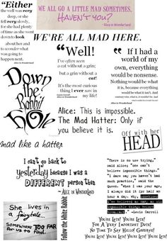 """Alice in wonderland quotes"" by halleballe ❤ liked on Polyvo Alice Quotes, Disney Quotes, Me Quotes, Book Quotes, Alice And Wonderland Quotes, Alice In Wonderland Tea Party, We All Mad Here, Trailer Park, Chesire Cat"