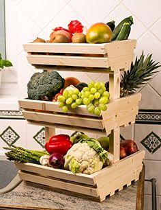3 tier Wooden Vegetable fruit food storage rack Familly