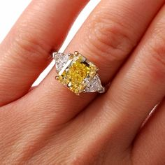 CARTIER 5.33 Natural Fancy Intense Yellow Diamond Platinum Ring
