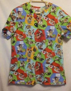 Looney Toons Taz Scrub Top Tazmanian Devil Scrubs Medical Doctor Size Small #LooneyTunes