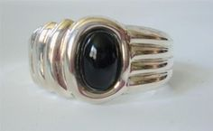 Mexico Sterling Silver Black Onyx Cuff Bracelet Art Deco Modernist 58g 9... - $87.12