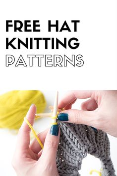 Make a hat with one of these free hat knitting patterns. One of the best things you can make for the colder months is a knitted hat! Arm Knitting, Knitting Needles, Charity Knitting, Knitting Patterns Free, Knit Patterns, How To Purl Knit, Knitting Accessories, Knitting For Beginners, Bandeau