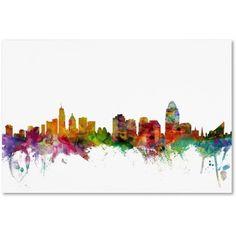 Trademark Fine Art Cincinnati Ohio Skyline Canvas Art by Michael Tompsett, Size: 12 x 19