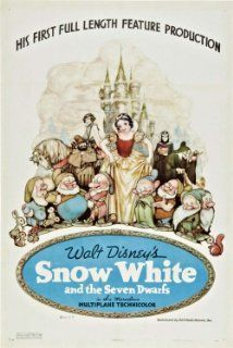 Snow White and the seven dwarfs, 1937. Snow White, pursued by a jealous queen, hides with the Dwarfs; the queen feeds her a poison apple, but Prince Charming awakens her with a kiss. X