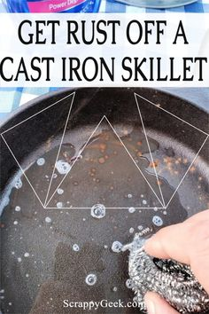 Get that nasty rust off your skillet and reseason it before your next cook! Break out the elbow grease, it'll be worth it! #cooking #baking #castiron #skillet #castironskillet #rustyskillet Cleaning Rusty Cast Iron, Iron Skillet Cleaning, Rusty Cast Iron Skillet, Colgate Palmolive, Skillet Pan, How To Remove Rust, Cast Iron Cookware, Pin Pin, Cooking Oil