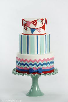 preppy nautical fondant cake perfect for birthday party for kids