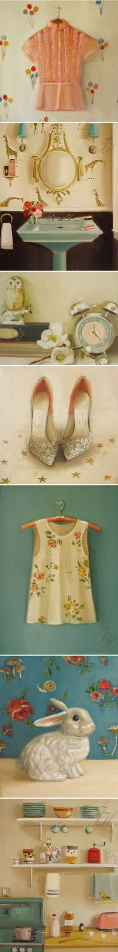 nostalgic paintings by janet hill <3. from the small image I thought these were photos!