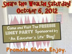 An Educator's Life: Share the Wealth Saturday- October 6, 2012