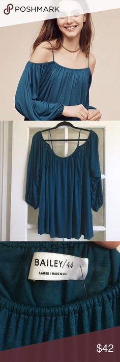 NWT Large Anthropologie Open Shoulder Top Beautiful turquoise open shoulder top! Elegant and flowing! Anthropologie Tops Blouses
