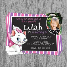 Aristocat's Marie Birthday Invitation by LastingMomentsDesign, $10.99