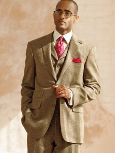 Wool Donegal Three Piece Suit from Paul Fredrick
