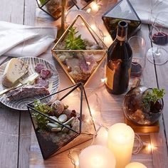 Tablesetting Inspiration   Faceted Terrariums