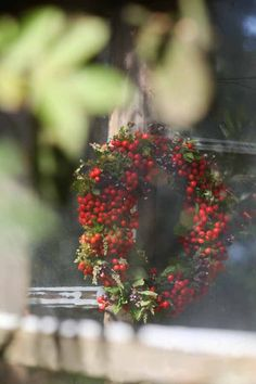 Rowan berry and herb wreath