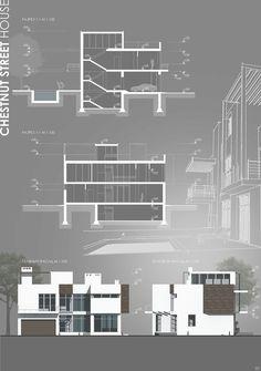 Chestnut street house # chestnut # house # street section Tapley Photo Architecture Design, Architecture Presentation Board, Architecture Sketchbook, Architecture Board, Architecture Graphics, Architecture Visualization, Concept Architecture, Presentation Boards, Architecture Diagrams