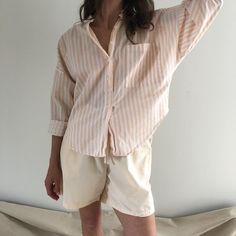Vintage muted peach striped summer top with dolman sleeve, breast pocket and collared neckline.